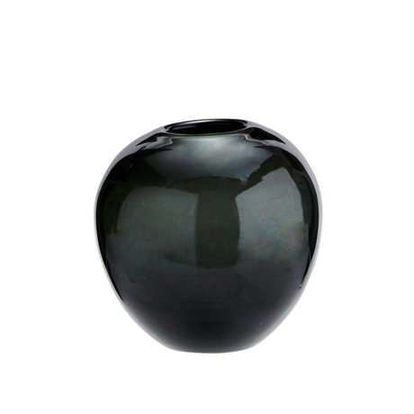 Madam Stoltz Vaas rond donkergrijs glas Ø9x8,5cm