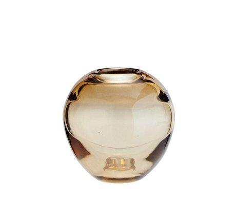Madam Stoltz Vaas rond cognac bruin glas Ø9x8,5cm