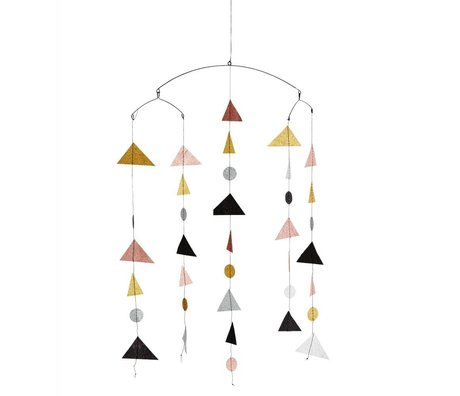 Madam Stoltz Mobile Dreieck glitzern Mehrfarbenpapier 27x20x100cm