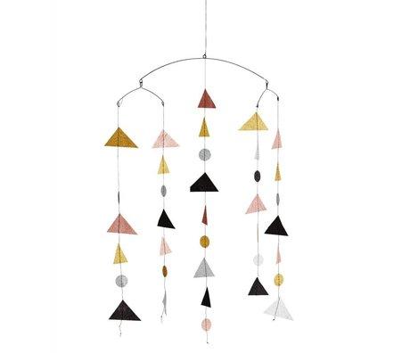 Madam Stoltz Mobile Triangle glitter multicolour papier 27x20x100cm