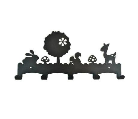 Eina Design Kapstok Woodland zwart metaal 40x19cm