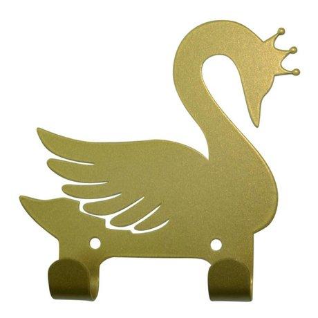 Eina Design Wandhaken Schwan Gold Metall 14x13cm