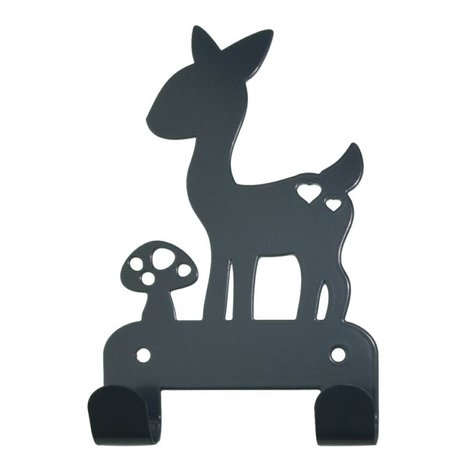 Eina Design Wandhaken Hirsch grau Metall 19x10,5cm