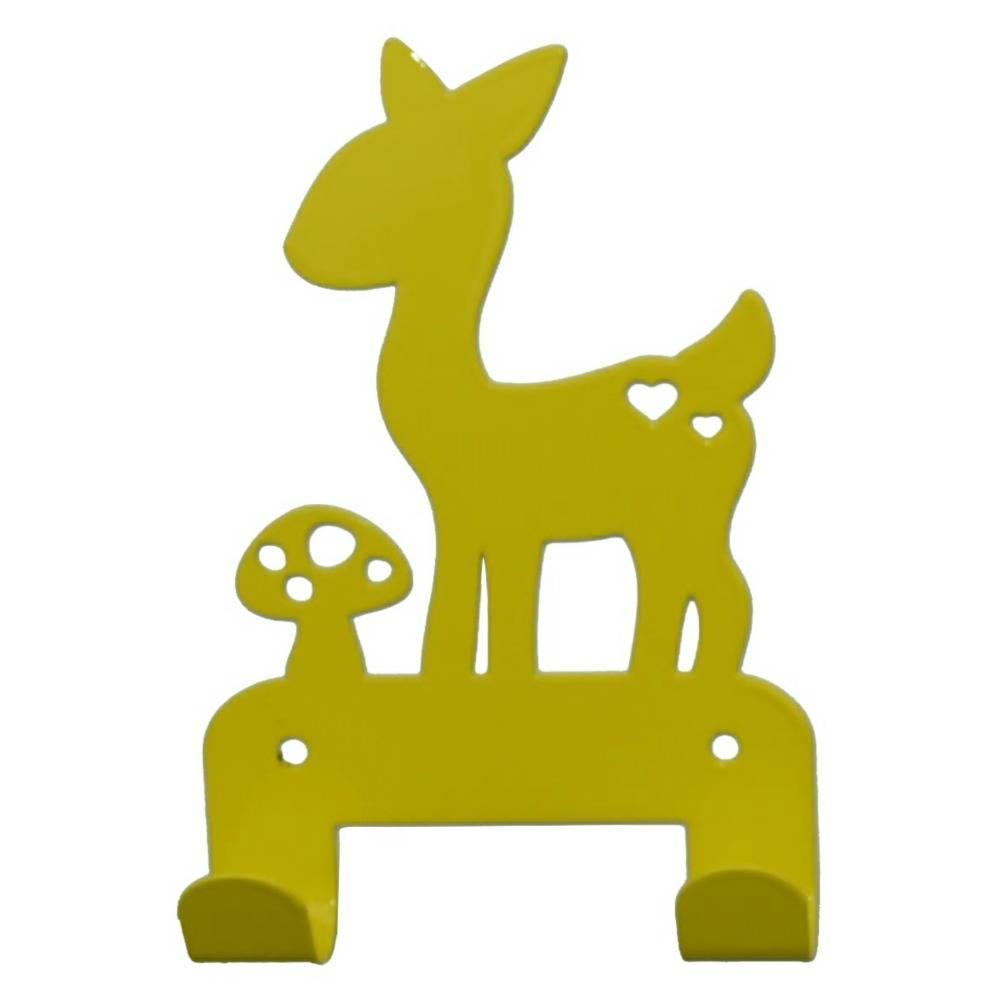 Eina Design Wall Hook deer yellow metal 19x10,5cm - Wonen met LEF!