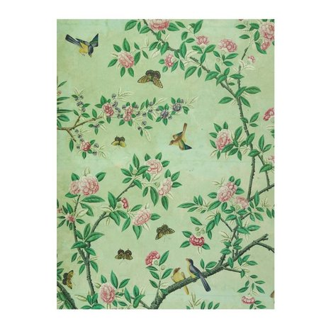 IXXI Wall decoration panel of a Chinese Wallpaper green paper L 100x140cm