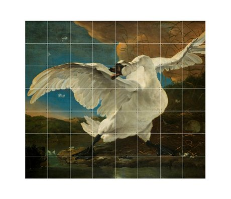 IXXI Wanddecoratie Asselijn De bedreigde zwaan multicolour papier L 160x140cm