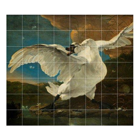 IXXI Décoration murale Asselijn Le papier multicouleurs Menacée Swan L 160x140cm