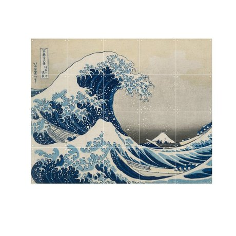 IXXI Wanddekoration Hokusai Die große Welle blaues Papier S 100x80cm