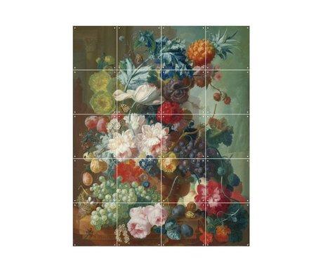 IXXI Décorations murales Van Os Fruits et fleurs dans un vase en terre cuite papier multicolore S 80x100cm