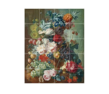 IXXI Wanddekoration Van Os Früchte und Blumen in einem Terrakotta-Vase bunten Papier S 80x100cm