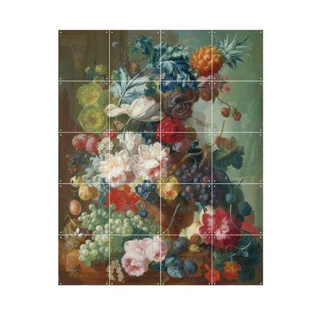 IXXI Wanddecoratie Van Os Fruit & flowers in a terracotta vase multicolour papier S 80x100cm