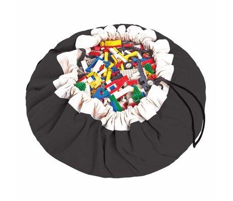 Play & Go Sac de rangement / tapis de jeu classique noir en coton noir Ø140cm