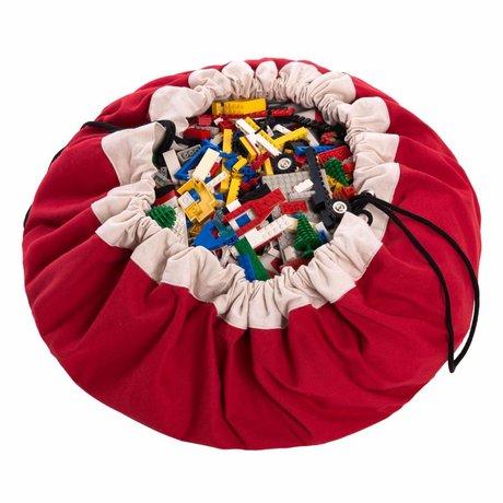 Play & Go Sac de rangement / tapis de jeu classique en coton rouge rouge Ø140cm