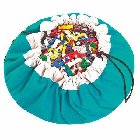 Play & Go Storage bag / playmat Classic Turqouise blue cotton Ø140cm