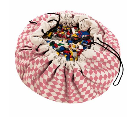 Play & Go Storage bag / playmat Diamond Pink pink cotton Ø140cm