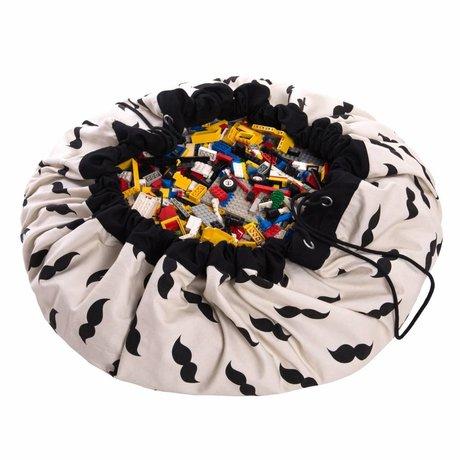 Play & Go Storage bag / toy Mustache black cotton Ø140cm