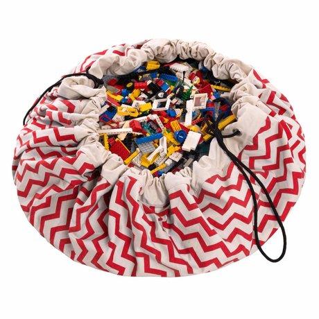 Play & Go Storage bag / play cloth Zig Zag Red cotton Ø140cm