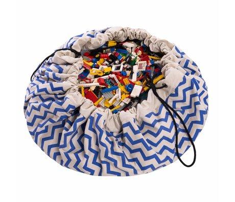 Play & Go Storage bag / playmat Zig Zag Blue blue cotton Ø140cm