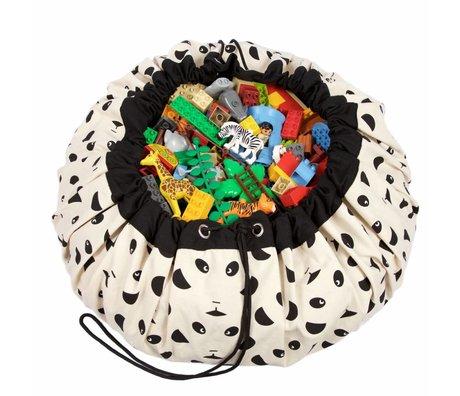 Play & Go Sac de rangement / Panda coton playmat noir et blanc Ø140cm