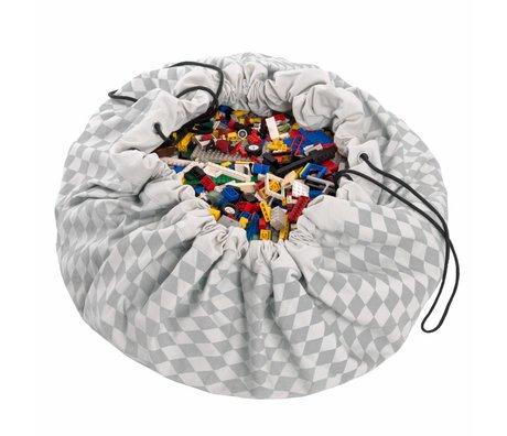 Play & Go Speicherbeutel / playmat Diamant grau Baumwolle Ø140cm