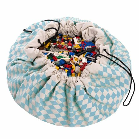 Play & Go Storage bag / play mat Blue Diamond blue cotton Ø140cm
