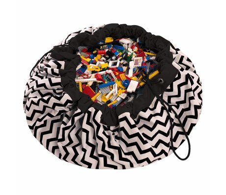 Play & Go Sac de rangement / tapis de jeu Zig Zag coton monochrome noir Ø140cm