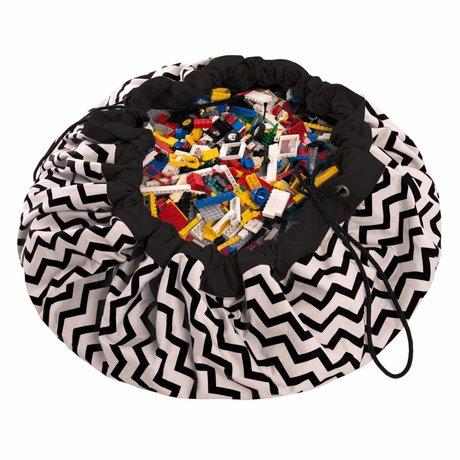 Play & Go Storage bag / towel Zig Zag Black black cotton Ø140cm