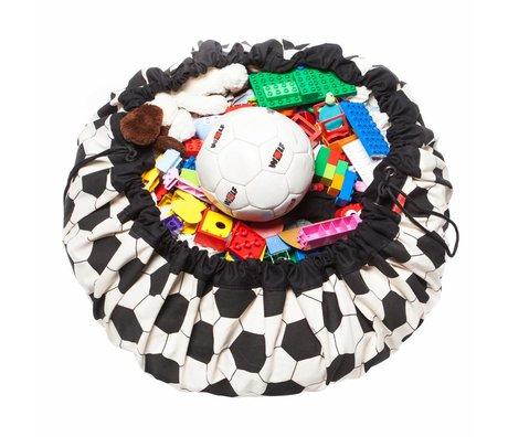 Play & Go Sac de rangement / tapis de jeu de football en coton noir Ø140cm