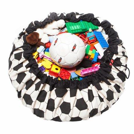 Play & Go Sac de rangement / tapis de jeu de football en coton noir et blanc Ø140cm