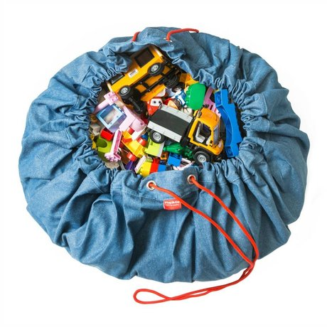 Play & Go Storage bag / playmat cotton blue jeans Ø140cm
