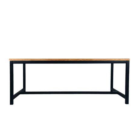 LEF collections Eettafel Gent bruin zwart hout metaal 200x100x75cm