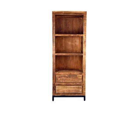 LEF collections Gand Bibliothèque en bois marron métal noir 70x45x185cm