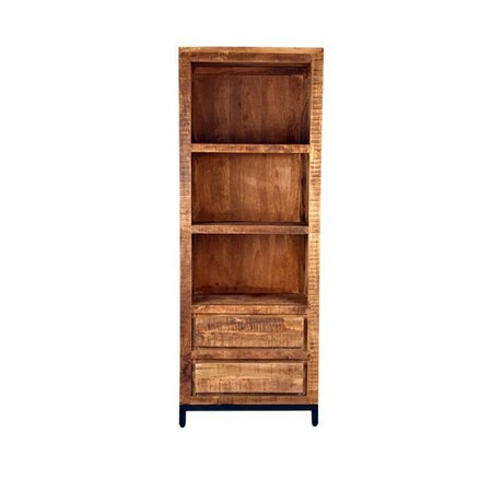 LEF collections Ghent brown wood bookcase black metal 70x45x185cm