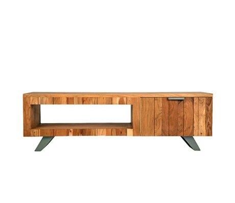 LEF collections TV meubel Milaan bruin zwart hout metaal 156x45x48cm