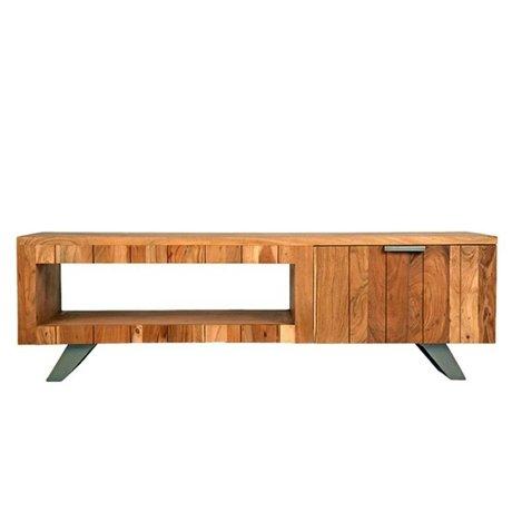 LEF collections TV-Schrank Mailand braun schwarz Holz Metall 156x45x48cm