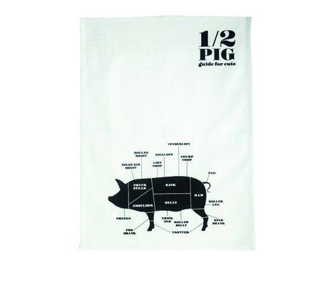 Nicolas Vahe Theedoek '1/2 Pig' wit/zwart katoen 50x70cm