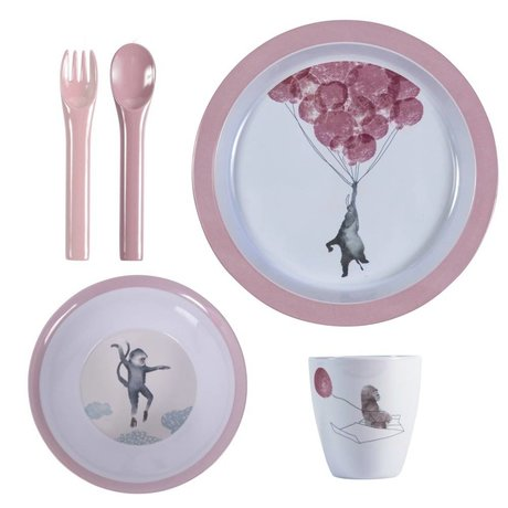 Sebra Children's dishes in the sky pink melamine set of four