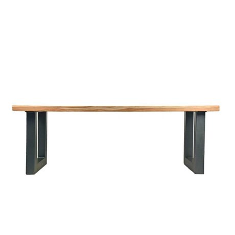 LEF collections Milan brown wood table black metal 200x95x76cm