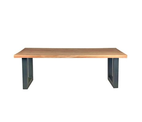 LEF collections Milan brown wood table black metal 220x95x76cm