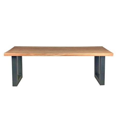 LEF collections Milan table en bois brun 220x95x76cm métal noir