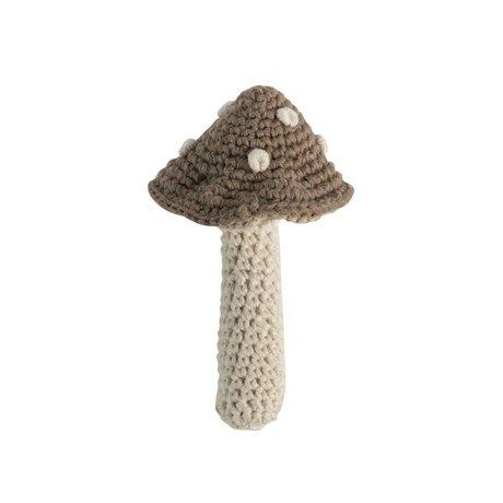 Sebra Rammelaar paddenstoel lichtbruin katoen 7x12cm