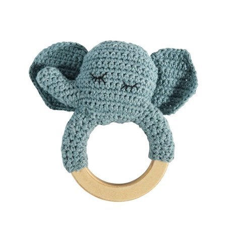 Sebra Rattle elephant blue cotton wood 8x13cm