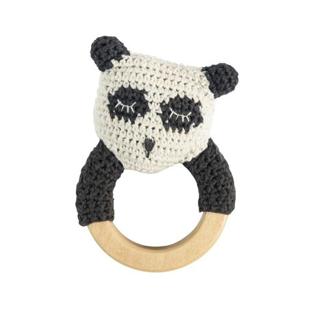 Sebra Rattle Panda weiße Baumwolle Holz 13x8cm