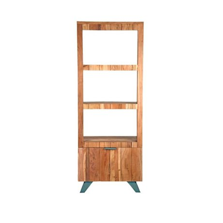 LEF collections Milan brown wood bookcase black metal 72x48x188cm