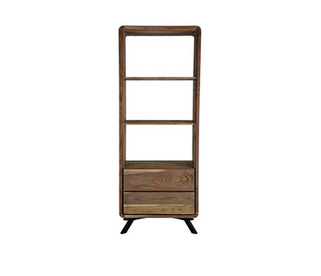 LEF collections Havana braun Holz Bücherregal Metall 70x45x181cm