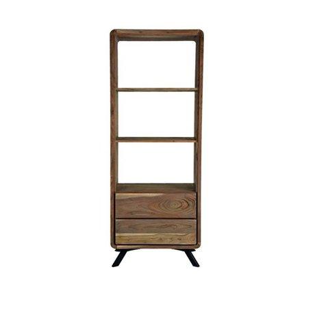LEF collections Havana brown wood bookcase metal 70x45x181cm