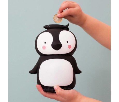 A Little Lovely Company Geld-Kasten Pinguin schwarz und weiß Kunststoff 13x10x16cm