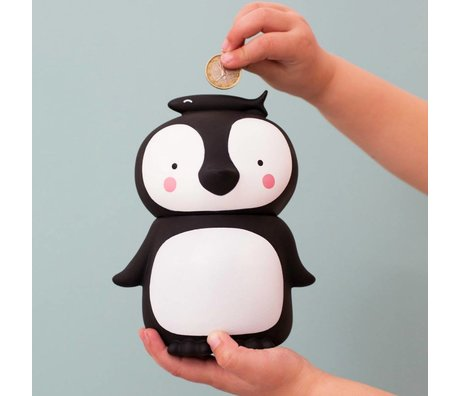 A Little Lovely Company Money Box Penguin black and white plastic 13x10x16cm