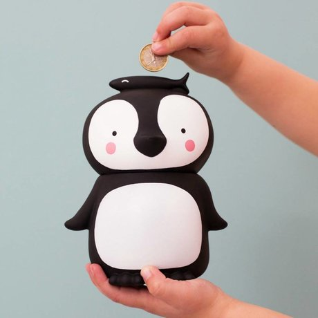 A Little Lovely Company Money Box Penguin black and white plastic 13x10x16cm