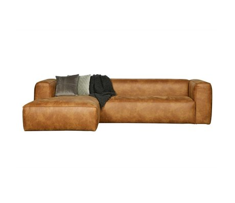 LEF collections Corner sofas Bean longchair left cognac brown leather 305x73x96 / 175cm